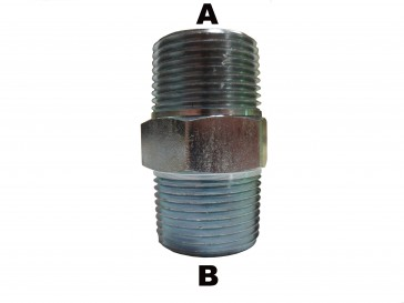 """1/2"""" Male Pipe to 3/8"""" Male Pipe Hex Nipple"""