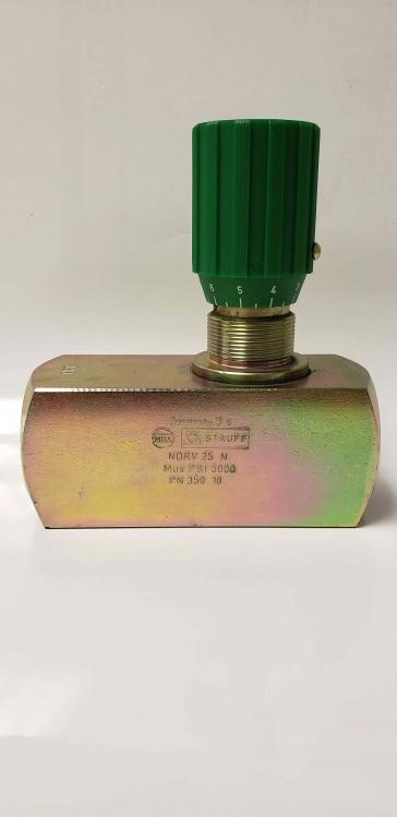 """STAUFF NDRV-25-N, 1-1/4"""" NPT, 5000 PSI Inline Flow Control Valve, Carbon Steel"""