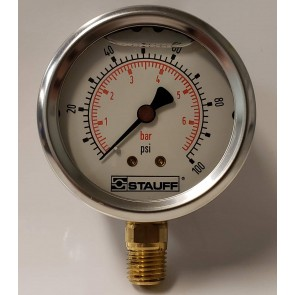 "STAUFF SPG-63-0100S, 0-100 PSI Pressure Gauge, 1/4"" NPT"