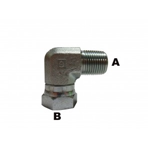 "3/8"" Male Pipe to 1/2"" Female Pipe 90 Elbow Swivel"